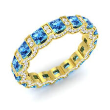 Real 14K Yellow Gold 3.88 Ct Natural Diamond Topaz Gemstone Ring Size O,N,M