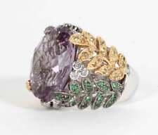 French Cut 11.29CT Amethyst Floral Vine Fashion Ring In Three Tone 925 Silver