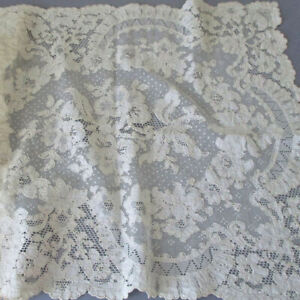 """Vintage Creamy French ALENCON Needle LACE Runner ROSES Dotted Background 32""""X15"""""""
