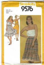 Vintage 1980s sewing pattern Simplicity 9576 Pullover Top & Skirt Strapless 12