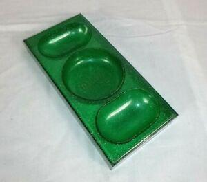 """Vtg Bassett Furniture Trinket Desk Organizer Green Glitter Advertising 4x8.5"""""""