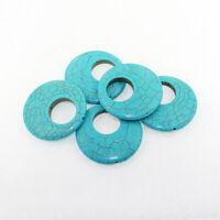 Turquoise Howlite Pendant Bead Donut Shape 48mm x 8mm Gemstone - BD1420