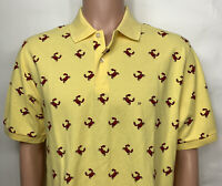 Brooks Brothers 346 Short Sleeve Yellow Polo Shirt Men's M Red Crab Print NWT