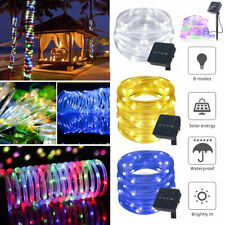 Tube LED Solar Power String Lights Outdoor Garden Fairy Rope Waterproof Lights