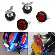 Off Road Motorcycle 4X Pack Tag Bolt Mini License Plate Red Reflectors Universal