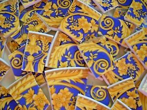 BAROQUE FLORAL & SCROLLS  ~ BROKEN CHINA MOSAIC TILES ~ Blue & Gold ~
