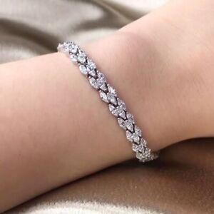 7.88 ct  Beautiful Marquise Diamond Tennis Bracelet , 18k White Gold