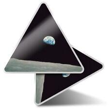 2 x Triangle Stickers  10cm - Apollo 8 1968 Earth from Moon  #44111
