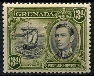 Grenada 1938-50 SG#158, 3d Black & Olive Green KGVI P12.5 MH #D52134