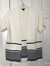 Talbots NWT Sweater Cardigan Ivory with Navy Pinstriped Short Sleeve Size Petite