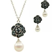 pearl necklace (freshwater pearl with cubic zirconia 925 sterling silver)
