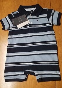 NWT TOMMY HILFIGER Blue Striped POLO STYLE SHORTALL ROMPER INFANT 3-6 MO