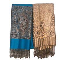 Pashmina Scarf Wrap Shawl Set Of 2 Teal Gold Floral Paisley Metallic