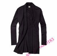 Hot Sale Men Knit Overcoat Cardigan Sweater Long Sleeved Outwear Black Coat Size