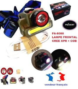 Lampe frontal puissante CREE XPR  LED + Cob rechargeable USB..