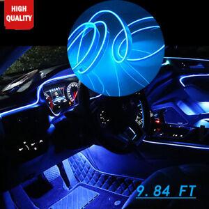 Car 9.8Ft EL Wire BLUE Cold light lamp Neon Lamp Atmosphere Light Unique Decor