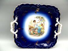 Antique PM Bavaria China Blue Flow Square Cake Plate Moschendorf Portrait Cherub