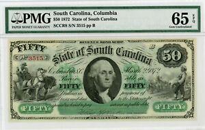 1872 Cr.8 $50 The State of SOUTH CAROLINA Note - PMG Gem 65 EPQ