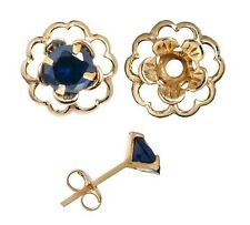Earring Set Sapphire Blue Cubic Posts Gold Flower Earring Jacket