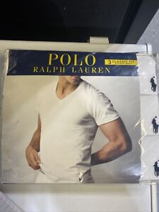 Polo Ralph Lauren V-Neck Classic Fit Three 3 Pack WHITE Cotton T Tee Shirt Med
