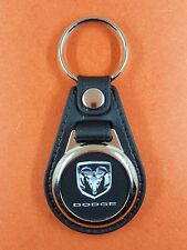 Dodge Logo Chrome Fond Noir  .Porte Clés Luxe Rond (réf PCLRo)