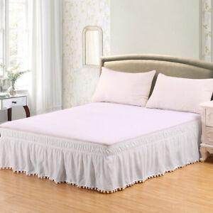 Elastic Bed Skirt Dust Ruffle 16inch Drop Wrap Around Bedskirt Twin Full Queen
