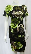 e01b119fdfbc5 New St John 4 Small Silk Blend Dress Floral Print Black Green Multi Stretch  2014