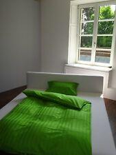 Satin-Bettwäsche uni Streifen, aus 100% Bio-Baumwolle, 80x80/155x220 Grün NEU !