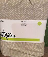JERSEY XL TWIN Sheet Set Tan & White 100% Cotton T-Shirt Soft NEW