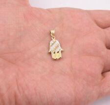 "1"" Hamsa Hand Kabbalah Diamond Cut Charm Pendant Real 10K Yellow White Gold"