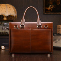 Men's Genuine Leather Business Briefcase Messenger Shoulder Bag Laptop Portfolio