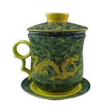 Gold Dragon Tea Cup China Dehua Porcelain Teacup with Lid, Saucer and Filter