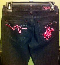 Beverly Hills Polo Club Dark Wash Pink Logo Boot Cut Jeans Size 5/6 Ret.$62 Nwot