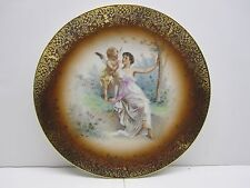 VINTAGE IMPERIAL BAVARIA PORCELAIN MADE IN GERMANY CHERUB AND LADY SCENIC PLATE