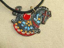 VTG Japanned Metal Enamel Rocking Horse Pendant Necklace w/ Glass Braided Chord