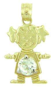 Fine Yellow Gold April Birthstone Crystal Clear Round CZ Baby Girl Charm Pendant