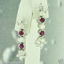 Diamond & Ruby Earring Dangle 9.00 grams 2.95 ct 14k Solid White Gold Natural