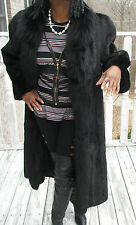 New Nwot Unique Elegant Black Full Length SAGA Mink & Fox Fur Coat Jacket S-8