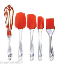 NORPRO SILICONE SPATULA/BRUSH/WHISK SET OF 5 RED