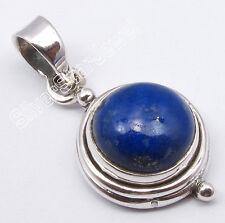 ".925 Silver Natural Blue LAPIS LAZULI Gemstone Oxidized Lovely Pendant 1"""