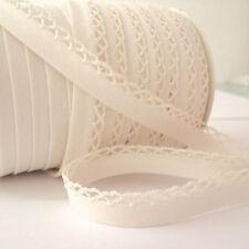 ALL COLOURS - PLAIN PICOT LACE CROCHET EDGE BIAS BINDING ribbon trim folded