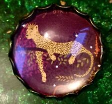 Vintage Style Bronze Glass Leopard Cat Collectors Hand Made Scottish Brooch