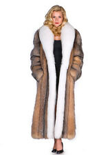 Womens Crystal Fox Fur Coat Long Real White Fox Trim Full Length