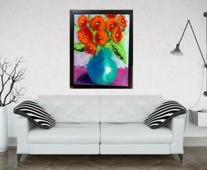 BIG 20X26 FLOWERS Painting by SWARTZMILLER - DNA SIGNED Pop Art Wall Framed NEW