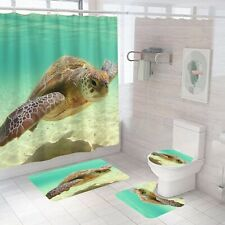 Sea Turtle Bathroom Rug Set Shower Curtain Non Slip Toilet Lid Cover Bath Mat