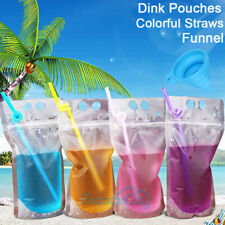 100Pcs (Drink Pouches Bags + Straws ) Stand-Up Zipper for Cold & Hot Drinks