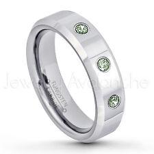 0.21ctw Alexandrite 3-Stone Ring, June Birthstone, Tungsten Wedding Band #048