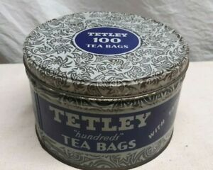 VINTAGE TETLEY HUNDREDS TEA BAGS WITH TAGS TIN NEW YORK NY & SAVANNAH GA