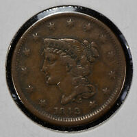 1842 1c Braided Hair Large Cent - Small Date - Original VF Coin - SKU-Y1258