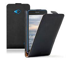 ULTRA Sottile Nero Flip Case Cover per Nokia Lumia Microsoft 640 DUAL SIM
